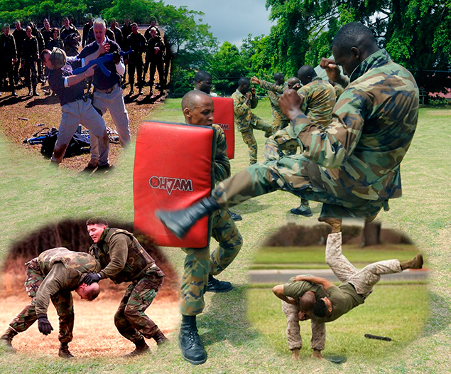 US_Navy_100511-N-9643W-141_Members_of_the_Jamaica_Defense_Force_practice_hand-to-hand_and_close_quarters_combat_techniques_with_Marines_embarked_aboard_Swift_(HSV_2)